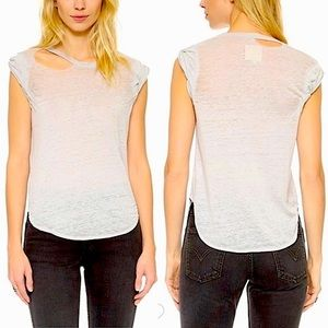 Chaser Deconstructed Rolled Shirttail Muscle Tee M